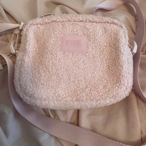 BNWT Victoria Secret Pink fuzzy crossbody bag